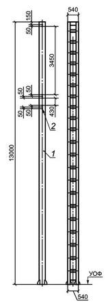 Стойки жестких поперечин с гранями поясов из гнутого швеллера альбом №6226И