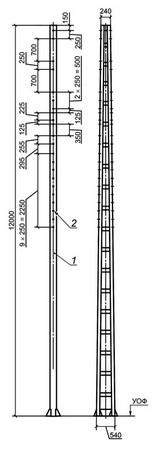 Консольные опоры с гранями поясов из гнутого швеллера альбом №6226И