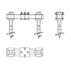 Двухсвайный фундамент на винтовых сваях для свободностоящих анкерно-угловых опор