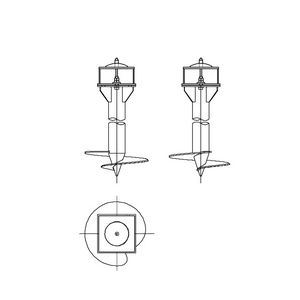 Односвайный фундамент на винтовых сваях с вертикальным штырем для промежуточных опор на оттяжках