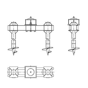 Двухсвайный фундамент на винтовых сваях с вертикальным штырем для промежуточных опор на оттяжках