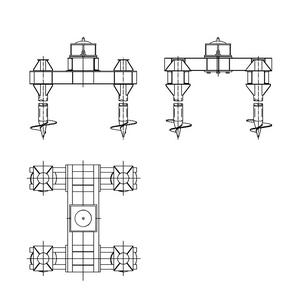 Четырехсвайный фундамент на винтовых сваях с вертикальным штырем для промежуточных опор на оттяжках