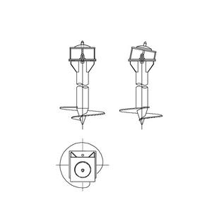 Односвайный фундамент на винтовых сваях с наклонным штырем для промежуточных опор на оттяжках