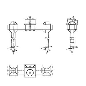 Двухсвайный фундамент на винтовых сваях с наклонным штырем для промежуточных опор на оттяжках