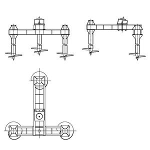 Трехсвайный фундамент на винтовых сваях с наклонным штырем для промежуточных опор на оттяжках