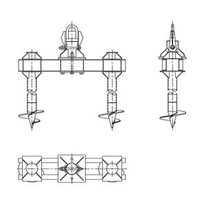 Двухсвайный фундамент на винтовых сваях под оттяжки