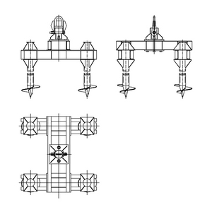 Четырехсвайный фундамент на винтовых сваях под оттяжки