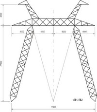 Промежуточные опоры наоттяжках ПБ1, ПБ2