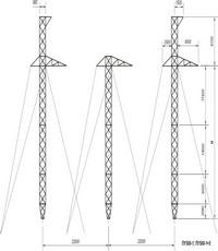 Промежуточно-угловые трехстоечные опоры на оттяжках ПУ500-1, ПУ500-1+5