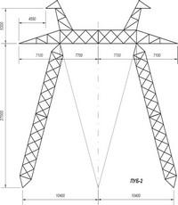 Промежуточно-угловые опоры на оттяжках ПУБ-2