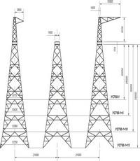 Опора анкерно-угловая трехстоечная свободностоящая УС750-1, УС750-1+5, УС750-1+10, УС750-1+15