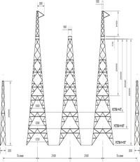 Опора анкерно-угловая транспозиционная свободностоящая УС750-1+5Т, УС750-1+10Т, УС750-1+15Т
