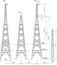 Опора анкерно-угловая четырехстоечная свободностоящая У1150-1, У1150-1+5, У1150-1+12
