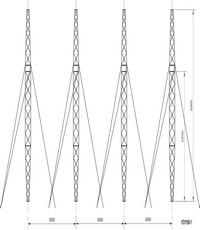 Опора анкерно-угловая четырехстоечная наоттяжках УО1150-1