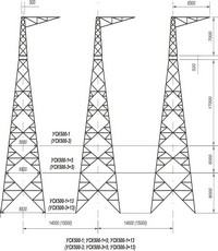 Опора анкерно-угловая трехстоечная свободностоящая УСК500-1, УСК500-1+5, УСК500-1+13, УСК500-3, УСК500-3+5, УСК500-3+13