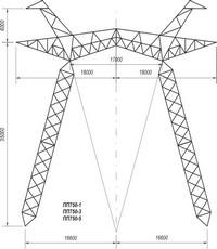 Промежуточная опора на оттяжках ПП750-1, ПП750-3, ПП750-5