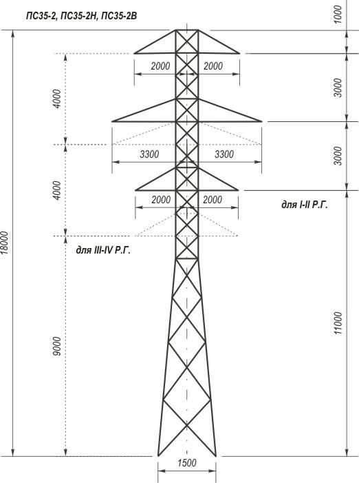 Промежуточные металлические опоры ЛЭП 35 кВ типа П 35, ПС 35.