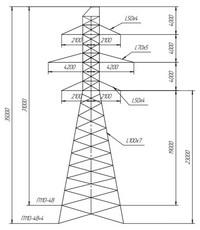 Опора промежуточная П110-4В, П110-4В+4