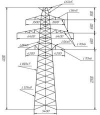 Опора промежуточная П220-2т (вариант обозначения )