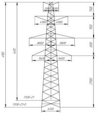 Опора промежуточная П330-2Т, П330-2Т+5 (вариант обозначения П330-2Т, П330-2Т+5)