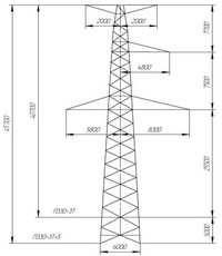 Опора промежуточная П330-3Т, П330-3Т+5 (вариант обозначения П 330-3Т, П 330-3Т+5)