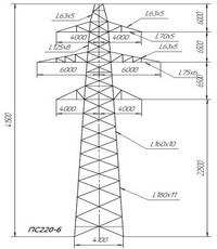 Опора промежуточная ПС220-6 (вариант обозначения ПС220-6)