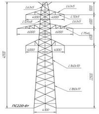 Опора промежуточная ПС220-6т (вариант обозначения ПС220-6т)