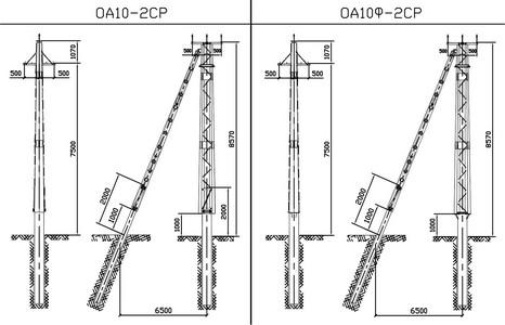 Ответвительные анкерные опоры ОА10-2СР, ОА10Ф-2СР