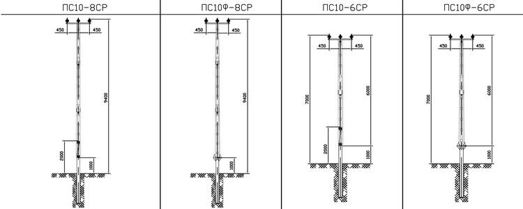 Промежуточные опоры ПС10-8СР, ПС10Ф-8СР, ПС10-6СР, ПС10Ф-6СР