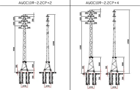 Анкерные угловые ответвительные опоры АУОС10Ф-2.2СР+2, АУОС10Ф-2.2СР+4