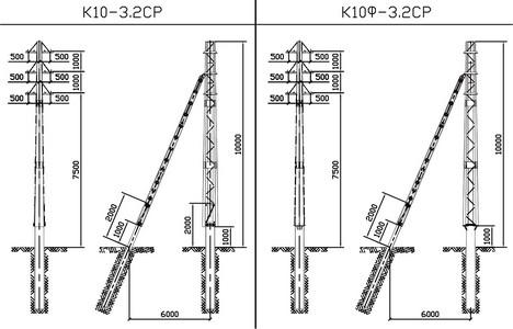 Концевые опоры К10-3.2СР, К10Ф-3.2СР