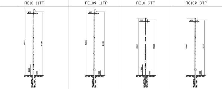 Промежуточные опоры ПС10-11ТР, ПС10Ф-11ТР, ПС10-9ТР, ПС10Ф-9ТР