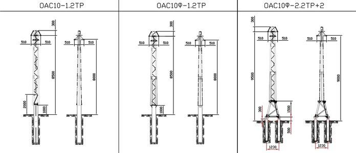 Ответвительные анкерные опоры ОАС10-1.2ТР, ОАС10Ф-1.2ТР, ОАС10Ф-2.2ТР+2