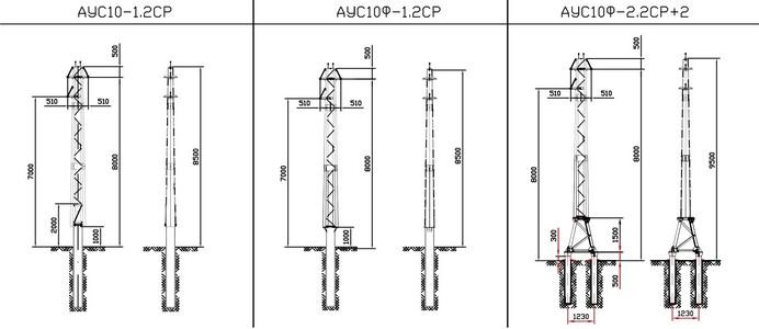 Анкерные угловые опоры АУС10-1.2СР, АУС10Ф-1.2СР, АУС10Ф-2.2СР+2