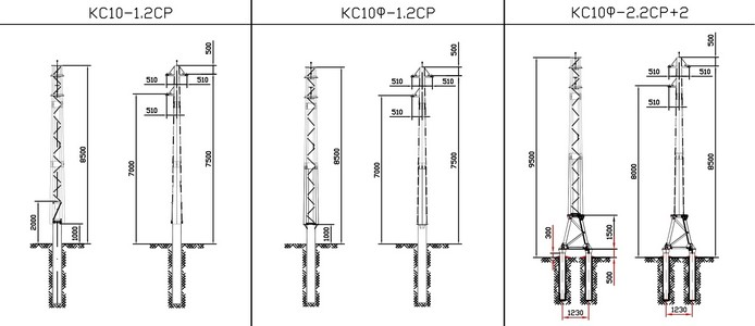 Концевые опоры КС10-1.2СР, КС10Ф-1.2СР, КС10Ф-2.2СР+2