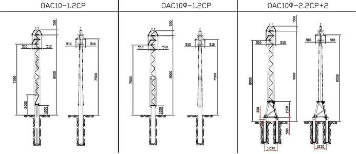 Ответвительные анкерные опоры ОАС10-1.2СР, ОАС10Ф-1.2СР, ОАС10Ф-2.2СР+2