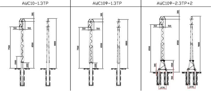 Анкерные угловые опоры АУС10-1.3ТР, АУС10Ф-1.3ТР, АУС10Ф-2.3ТР+2