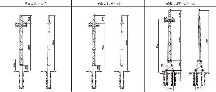 Анкерные угловые опоры АУС10-2Р, АУС10Ф-2Р, АУС10Ф-3Р+2