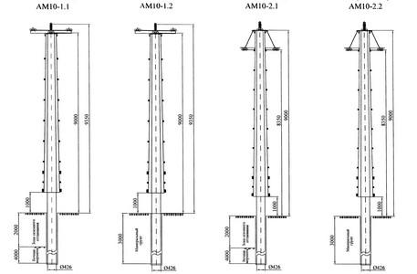 Анкерные опоры АМ10-1.1, АМ10-1.2, АМ10-2.1, АМ10-2.2
