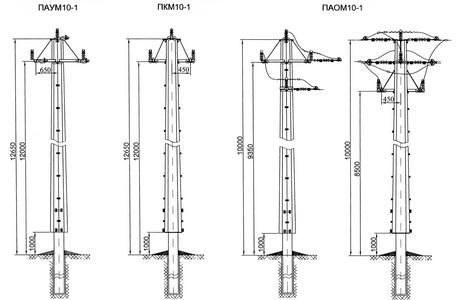 Переходные анкерно-угловые, концевые, ответвительные опоры ПАУМ10-1, ПКМ10-1, ПАОМ10-1