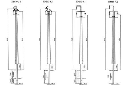 Промежуточные опоры ПМ10-3.1, ПМ10-3.2, ПМ10-4.1, ПМ10-4.2