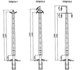 Переходные промежуточные опоры ППМ10-1, ППМ10-2, ППМ10-3