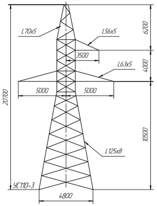 Опора анкерно-угловая УС110-3